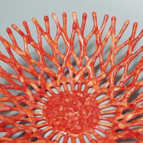 Fiery Sunset Coral Bowl in Red and Orange