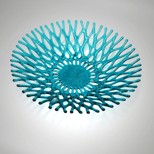 Lacy Glass Art Aquamarine Blue Green Coral Fruit Bowl
