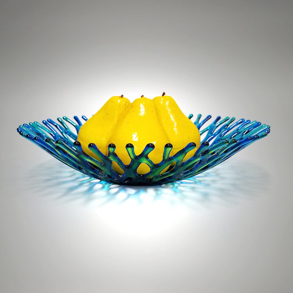 Handcrafted Glass Art Coral Bowl in Aqua Green Turquoise Blue