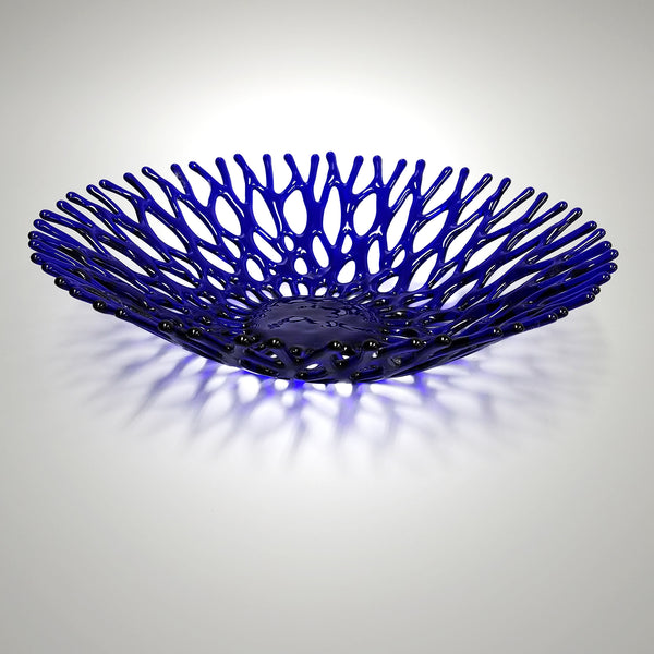 Cobalt Blue Glass Art Coral Bowl