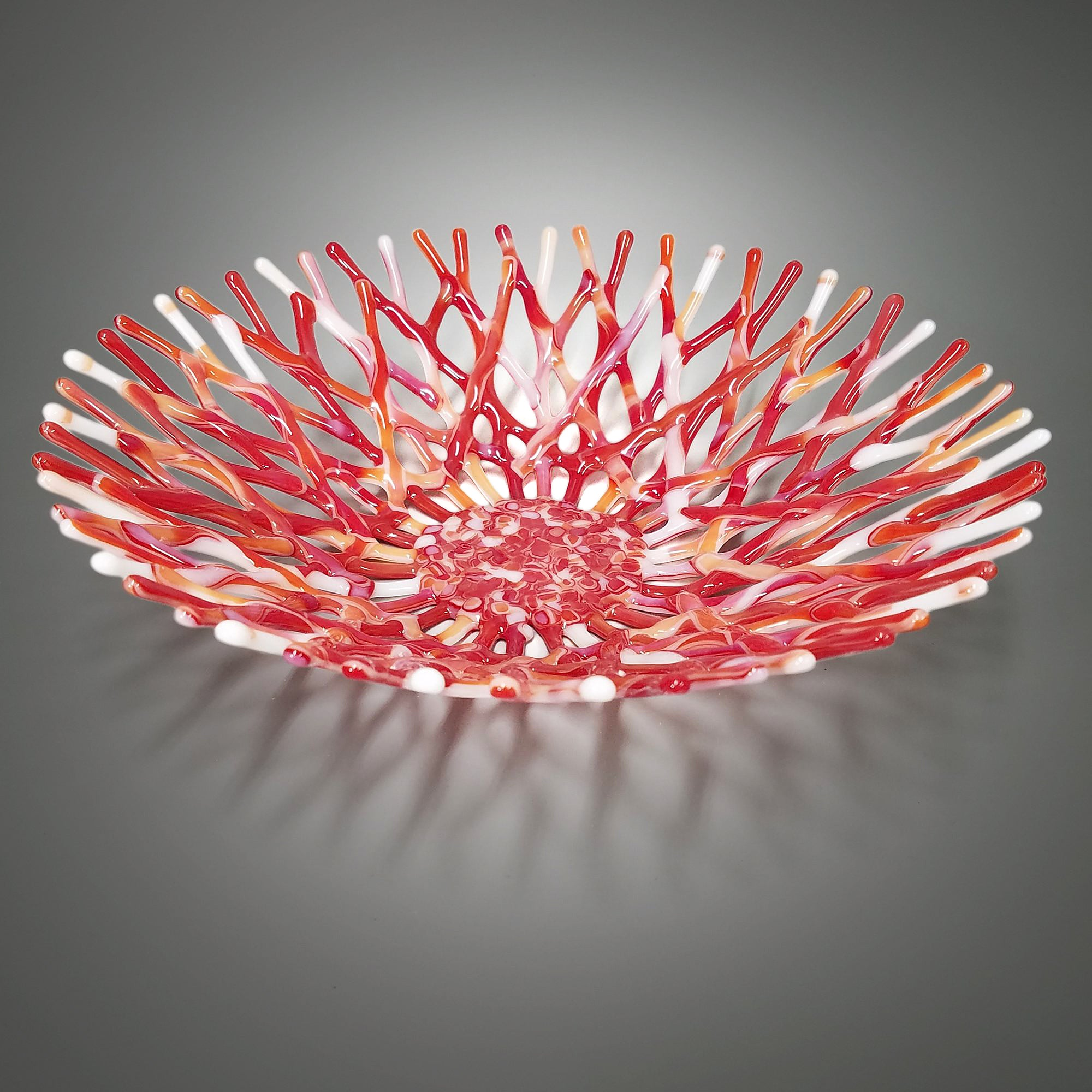 Fused Glass Art Coral Bowl in Red and White | Beach House Design