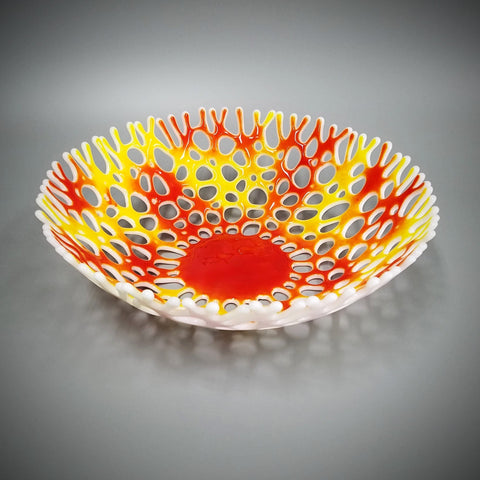 Large Glass Art Coral Bowl in Bright Red and Yellow | Beach House Art