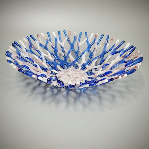 Beach Glass Art Coral Bowl in Seashell Pink and Lavender Blue