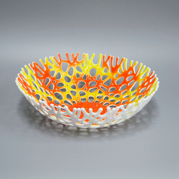 Large Coral Bowl Centerpiece in Orange White and Light Lime Green