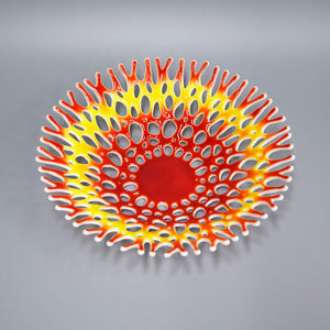 Decorative Glass Art Coral Bowl in Red Yellow White | Beach Living