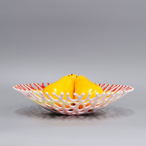 Decorative Glass Art Coral Bowl in Red Yellow White