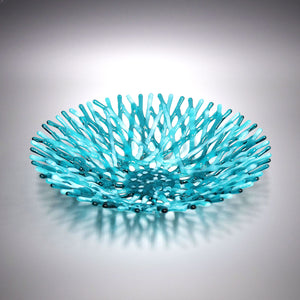 Glass Art Coral Bowl in Aquamarine Blue Green Wispy White Sea Glass