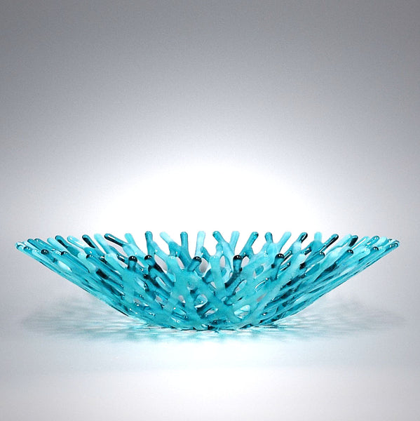 Glass Art Coral Bowl in Aquamarine Blue Green and Wispy White Sea Glass