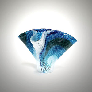 Glass Wave Vase in Shades of Blue