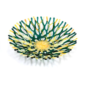 Glass Art Coral Bowl in Emerald Green and Yellow | Beach Glass Bowl