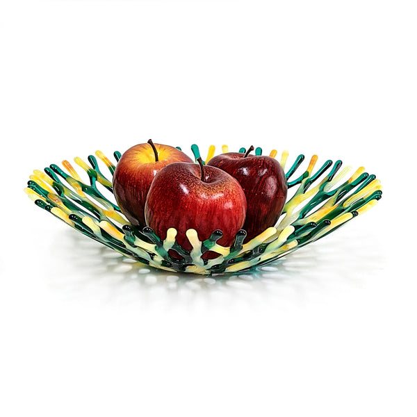 Glass Art Coral Bowl in Emerald Green and Yellow