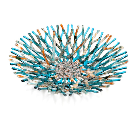 Glass Art Coral Bowl in Aqua Blue Green with Southwestern Colors
