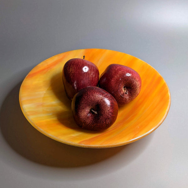Modern Fused Glass Art Fruit Bowl in Orange