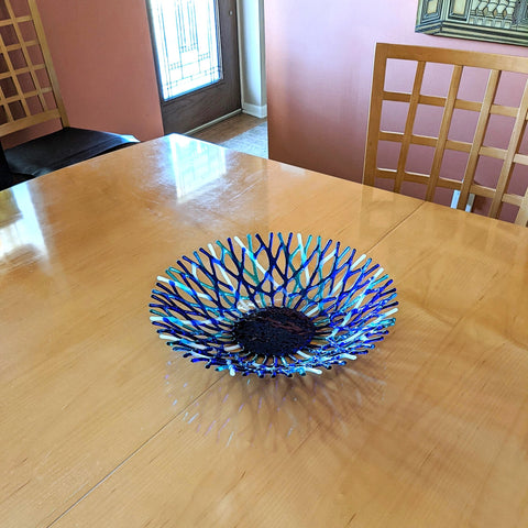 Custom Order 14.5 Inch Glass Art Coral Bowl