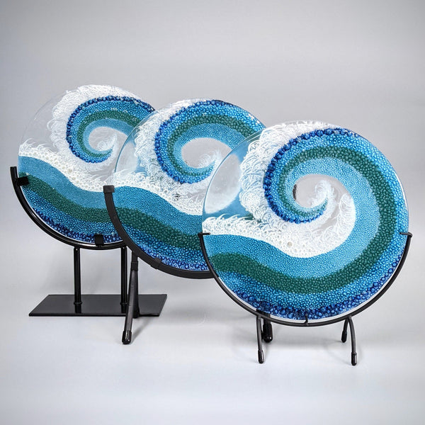 Modern Glass Wave Art Panel with Gallery Stand