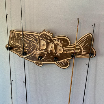 Solid wood large mouth bass fishing rod holder perfect for FATHERS DAY