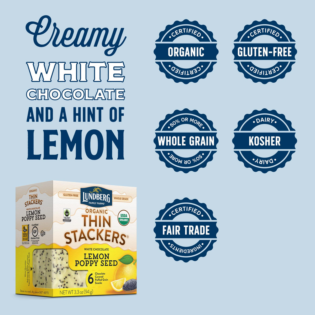 Organic Chocolate Thin Stackers® - Lemon Poppy Seed