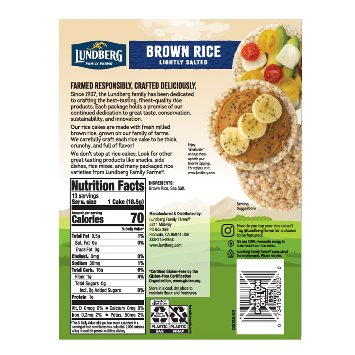 Organic Brown Rice Cake Lightly Salted Back Panel with Nutritionals