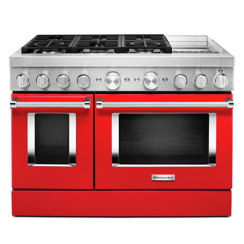 KitchenAid® 48'' Smart Commercial-Style Dual Fuel Range with Griddle KFDC558JAV