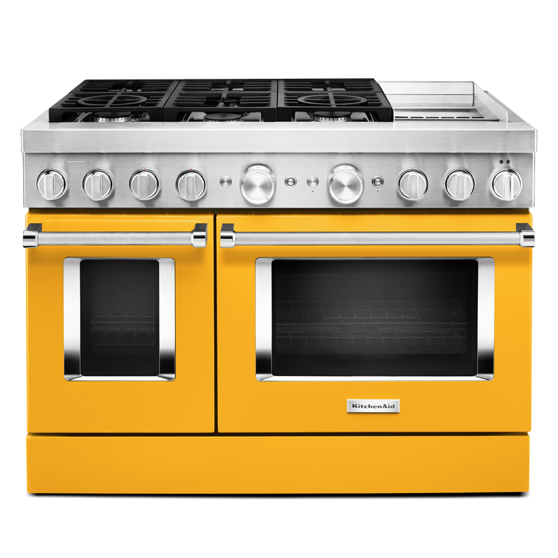 KitchenAid® 48'' Smart Commercial-Style Dual Fuel Range with Griddle KFDC558JYP