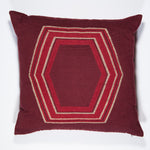 GEO Pillow Case handwoven in Guatemala by Living Threads Co. Artisans in Maroon