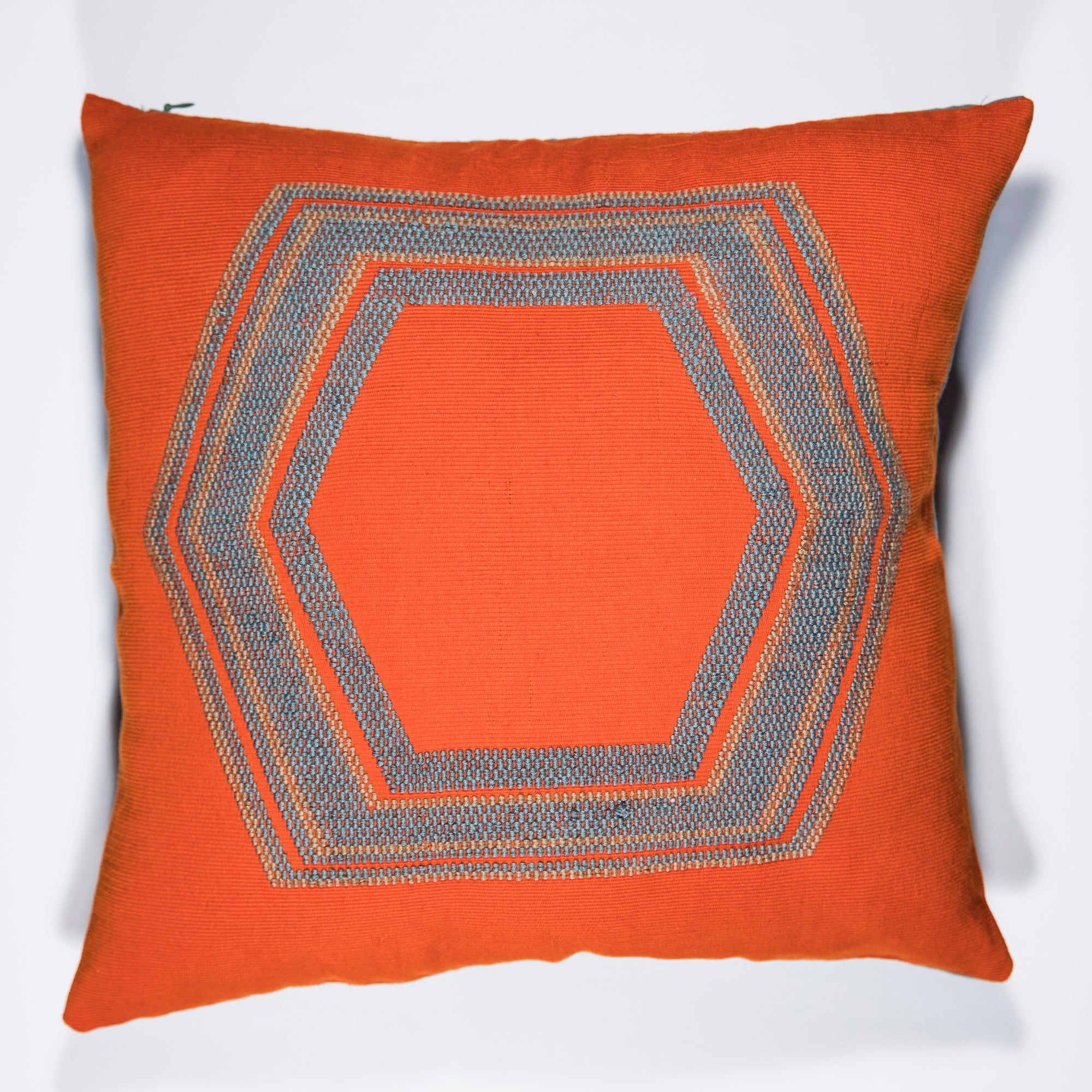 GEO Pillow Case handwoven in Guatemala by Living Threads Co. Artisans in Orange - front