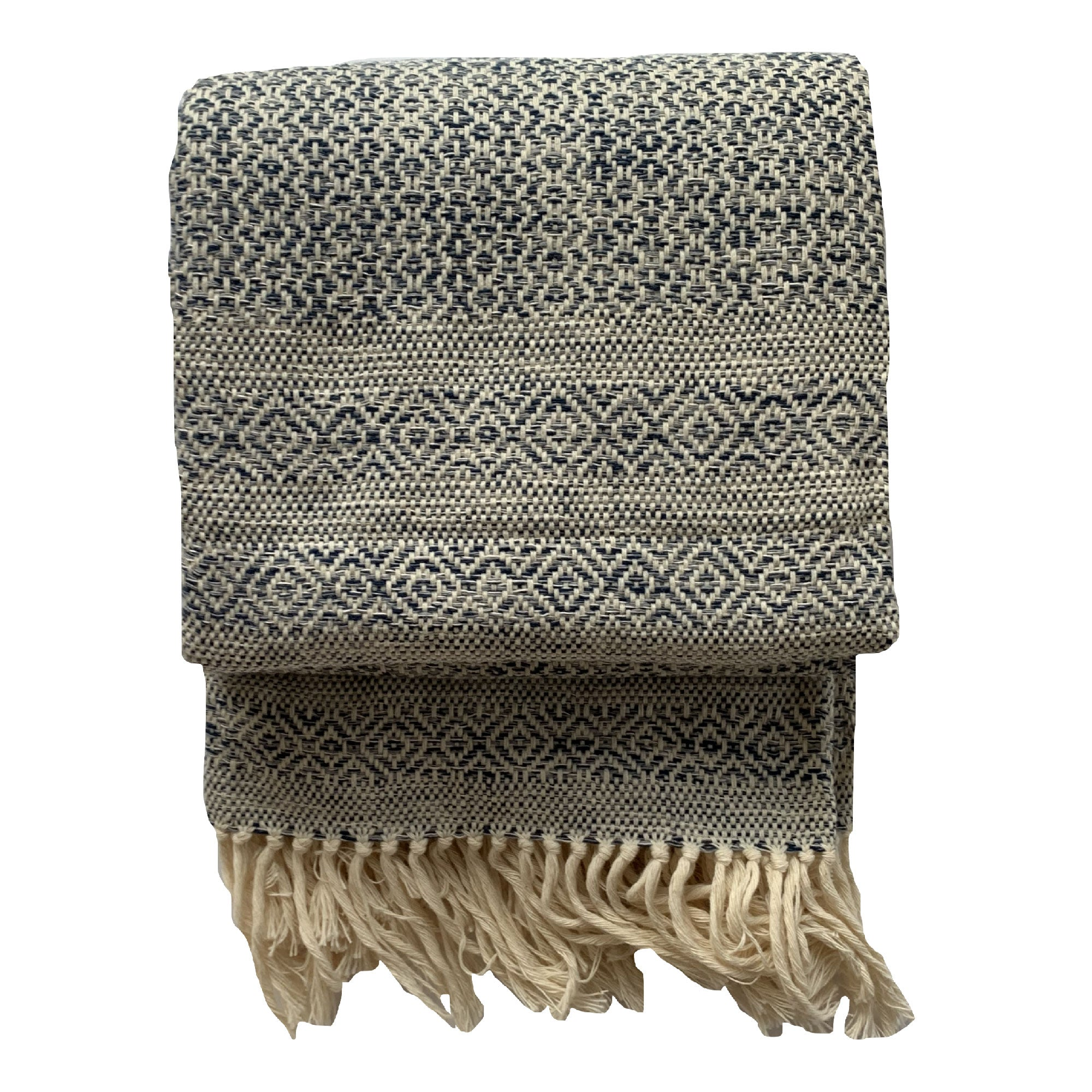 Handmade cotton mixed birdseye throw handmade by Living Threads Co. artisans in Nicaragua in Deep Sea