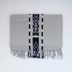TAY Ikat Natural Dy table runner hand woven in Guatemala on Mayan backstrap loom by Living Threads Co. skilled artisans in Grey