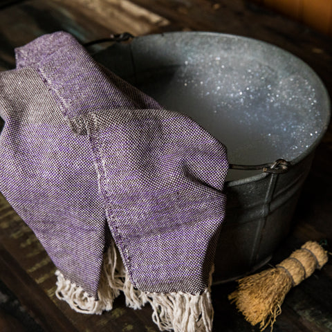 Handwoven 100% ecologically dyed cotton hand towel in purple