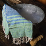 OALLA Hand towel by Living Threads Co. in blue and green handwoven by artisans in Guatemala