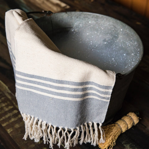 OALLA hand woven cotton hand towel by Living Threads Co. partner artisan in grey and natural