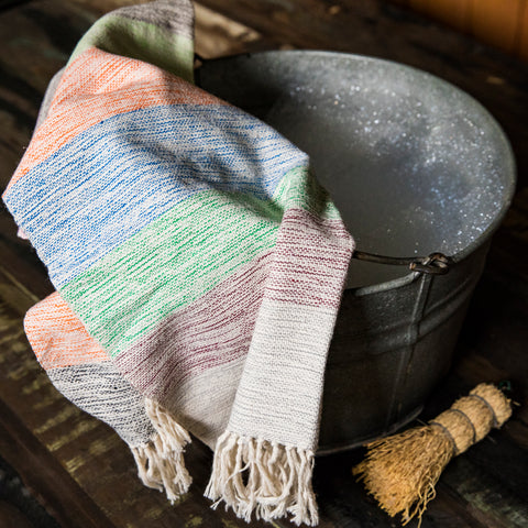TOAL Hand Towel handwoven 100% Cotton by Living Threads Co. artisans in rainbow