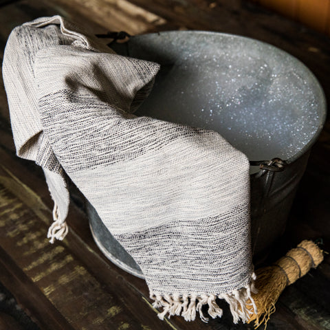 TOAL Hand Towel handwoven 100% Cotton by Living Threads Co. artisans in mixed grey