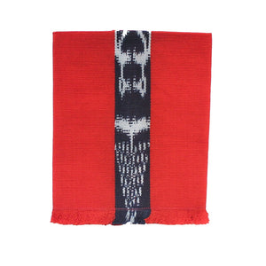 Artisan handcrafted cotton cloth napkin handwoven in Guatemala by Living Threads Co. Artisans in naturally dyed red-orange