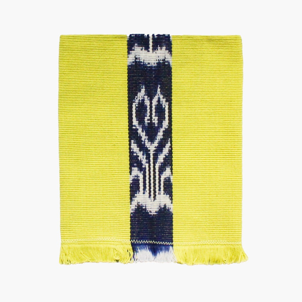 Naturally dyed chartreuse napkin in 100% handwoven cotton by Living Threads Co. napkins in Guatemala.