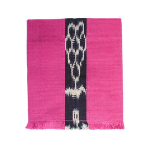 Artisan handcrafted cotton cloth napkin handwoven in Guatemala by Living Threads Co. Artisans in pink with Ikat detailing.