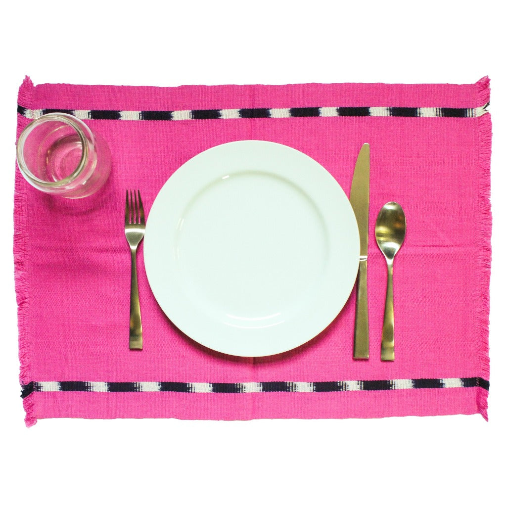 KAT placemats naturally dyed handwoven by Living Threads Co. in pink