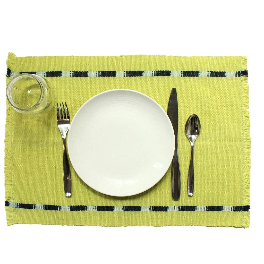 KAT placemats handwoven on mayan backstrap looms in Guatemala by Living Threads Co. artisans in Chartreuse