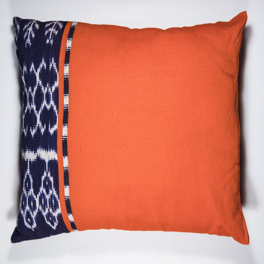 Living Threads Co. REC Ikat Pillow Case handwoven by Guatemalan partner artisans in brightly colored 100% eco dyed cotton