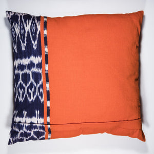 Back view of the REC Ikat Pillow Case in brightly colored 100% eco dyed handwoven cotton made by Living Threads Co. artisans in Guatemala.