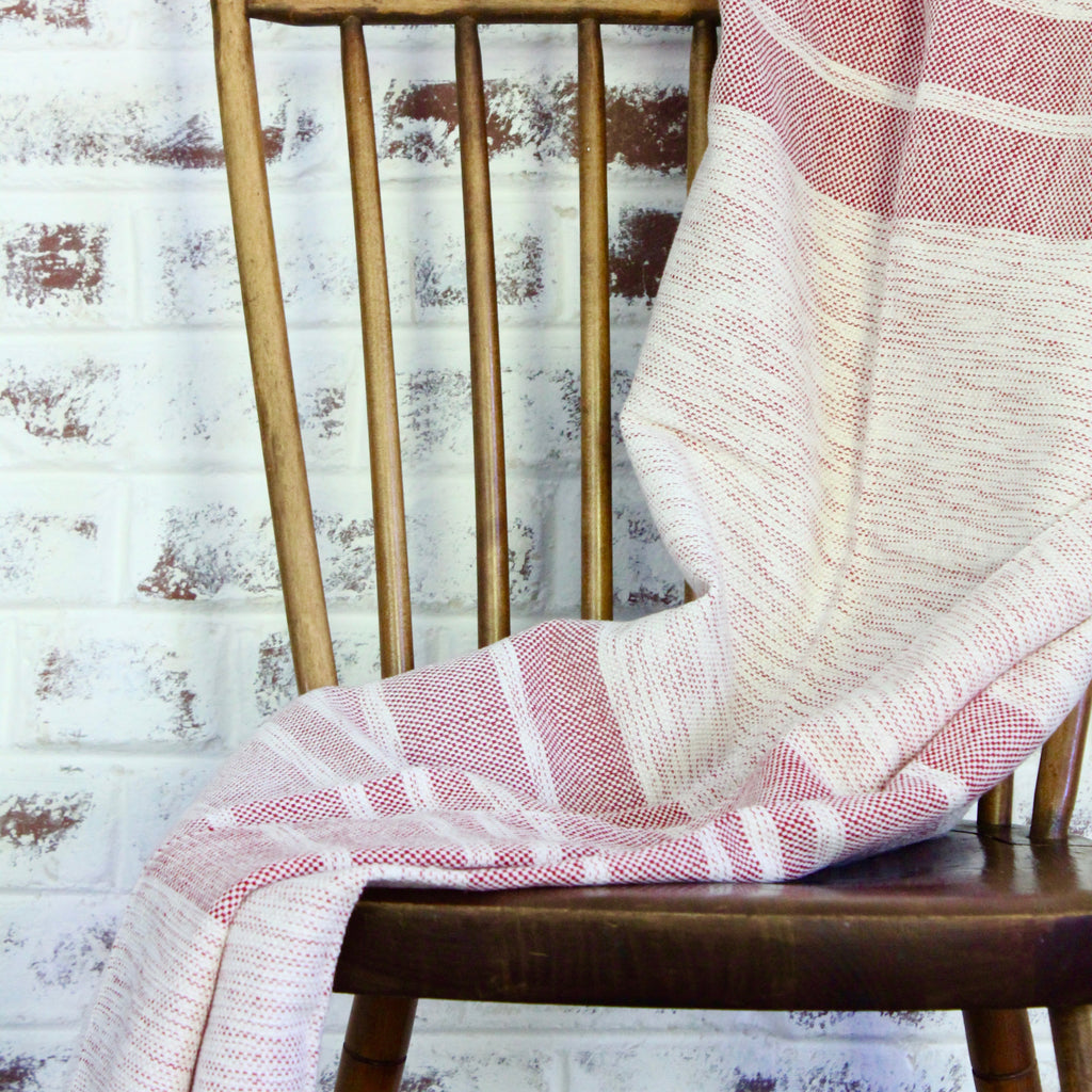 DORA Handwoven cotton throw by Living Threads Co. artisans in red