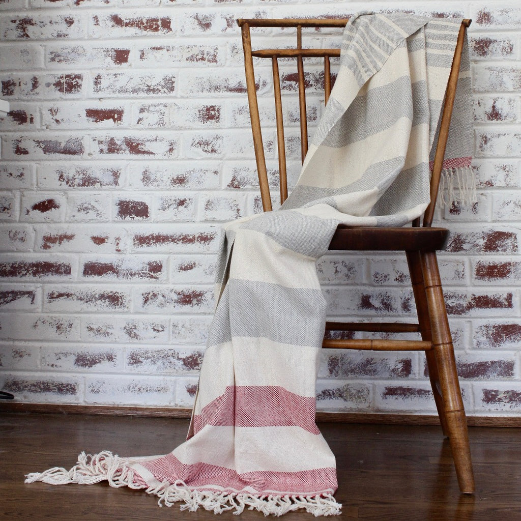 BEV Handwoven cotton light weight blanket in Red, made by artisans in Nicaragua.
