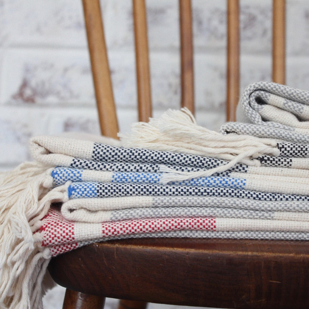 BEV Handwoven cotton light weight stripe blankets by Living Threads Co.