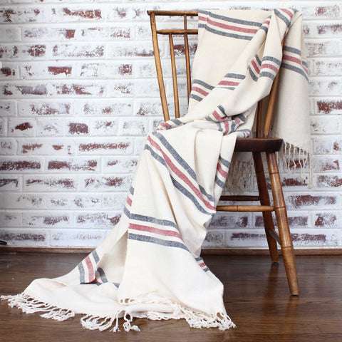 Handwoven cotton blanket LA RAYADA by Living Threads Co. partner artisans in Nicaragua in navy and blue