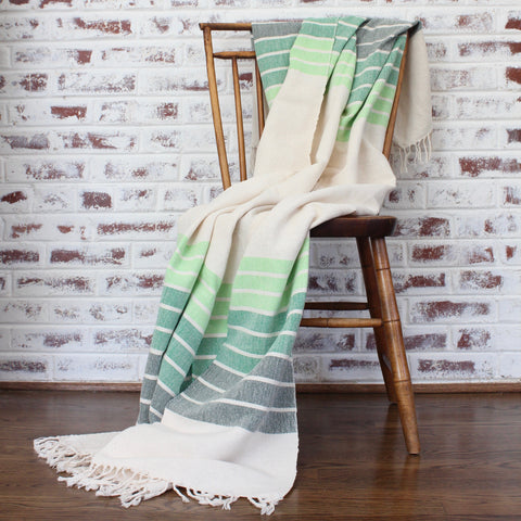 LINEAL Handwoven gradient blanket by Living Threads Co artisans in Green