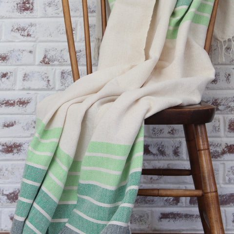 Living Threads Co. handwoven cotton blanket LINEAL in gradient stripe in green