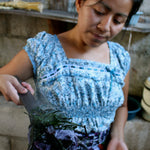 Natural dying process of handmade blankets and throws by Living Threads Co in Guatemala
