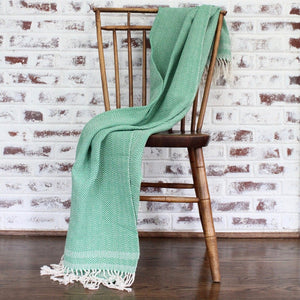 herringbone 100% ecologically dyed cotton blanket by Living Threads Co. in green
