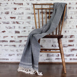 Handwoven herringbone MATEO Throw in Navy by Living Threads Co. artisans