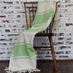 handwoven cotton AUDAZ blanket by Living Threads Co. artisans in lime